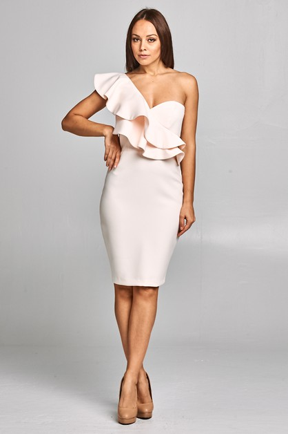 One Shoulder Cocktail Long Dress - orangeshine.com