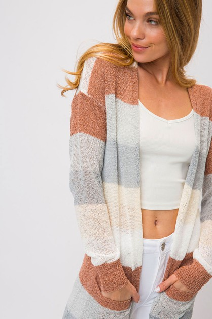 COLOR BLOCK LONG OPEN CARDIGAN  - orangeshine.com