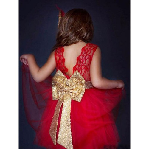 Big Sequin bow Lace Tulle Party Dres - orangeshine.com