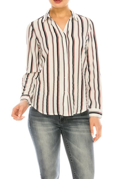 Multi-Striped Long Sleeve Blouse - orangeshine.com