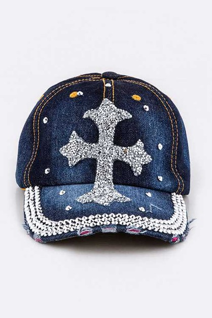 Crystal Cross Embelished Denim Cap - orangeshine.com