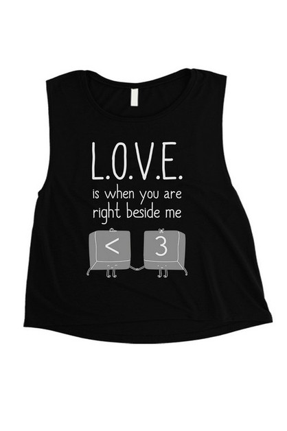 LOVE WHEN YOU ARE BESIDE ME CROP TEE - orangeshine.com