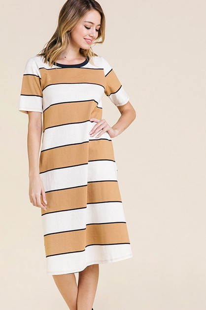 KNIT STRIPE DRESS - orangeshine.com