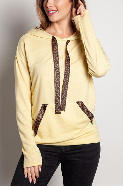 HOODED KANGAROO POCKET KNIT TOP - orangeshine.com