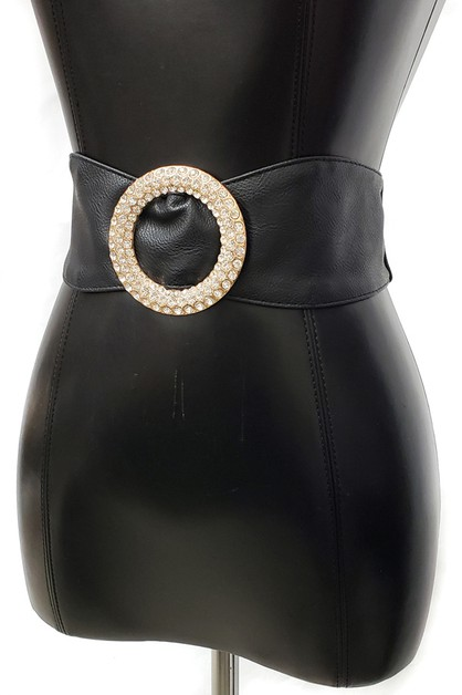 Rhinestone Circle Wide Elastic Belt - orangeshine.com