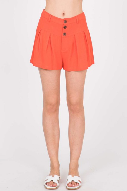 Pleated Shorts With Button Up Detail - orangeshine.com