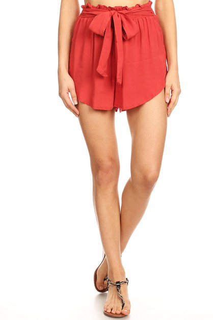 Solid Paper Bag Shorts Boho Casual   - orangeshine.com