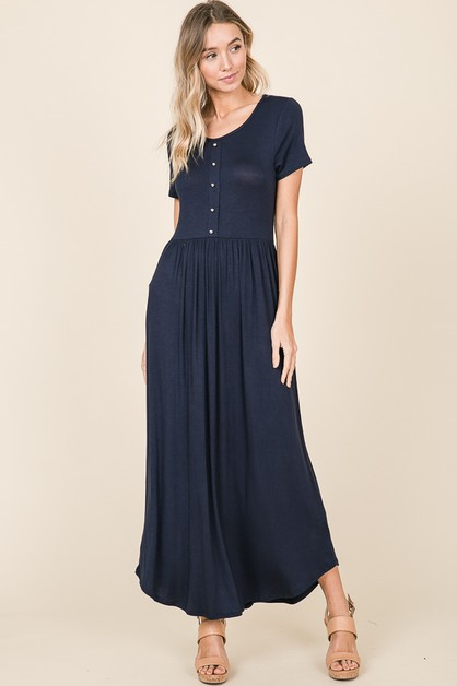 CASUAL BUTTON DETAIL MAXI DRESS - orangeshine.com
