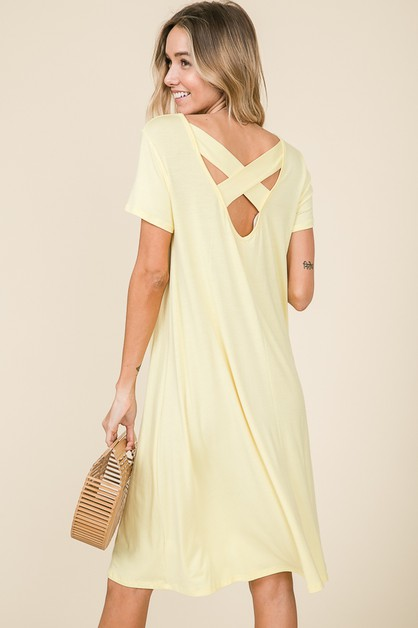 LOOSE FIT CROSS BACK DETAIL DRESS - orangeshine.com