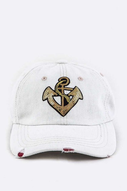 Sequins Anchor Bleached Denim Cap - orangeshine.com