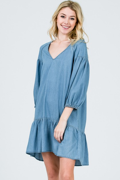 Flared line V-neck bell sleeve dress - orangeshine.com