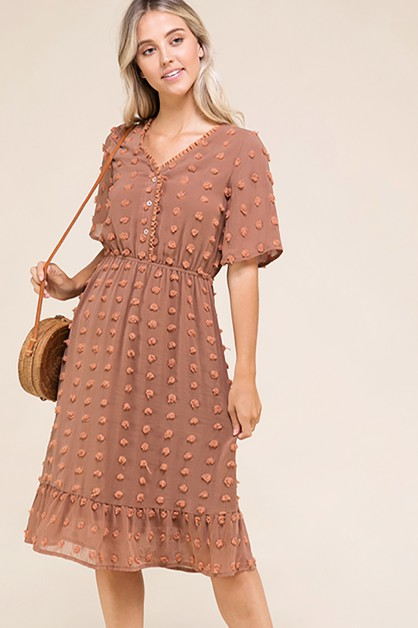 POLKA DOT POM POM MIDI DRESS - orangeshine.com