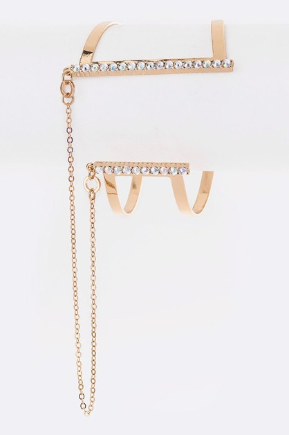 Crystal Pave Chain Accent Cuff - orangeshine.com