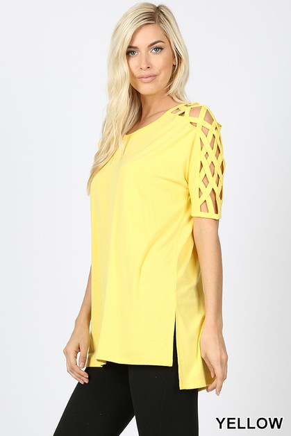 CRISS-CROSS SHOULDER SIDE SPLIT TOP - orangeshine.com