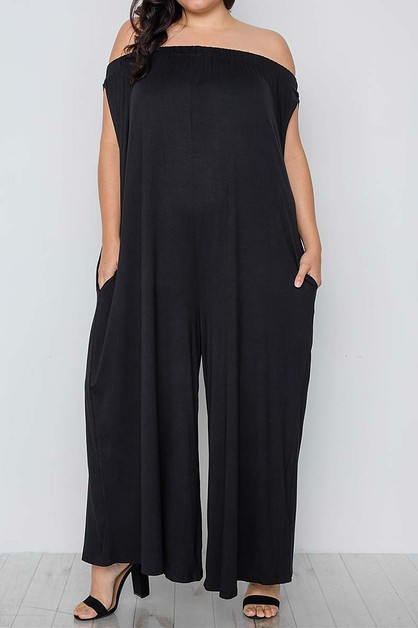 SOLID OFF SHOULDER PLUS JUMPSUIT - orangeshine.com