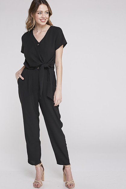 JUMPSUIT WITH SIDE TIE KNOT DETAIL - orangeshine.com