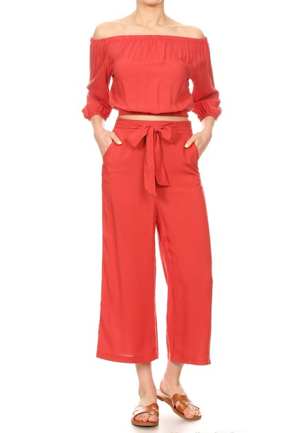Solid Crop Sets Tops Wide Leg Pants - orangeshine.com