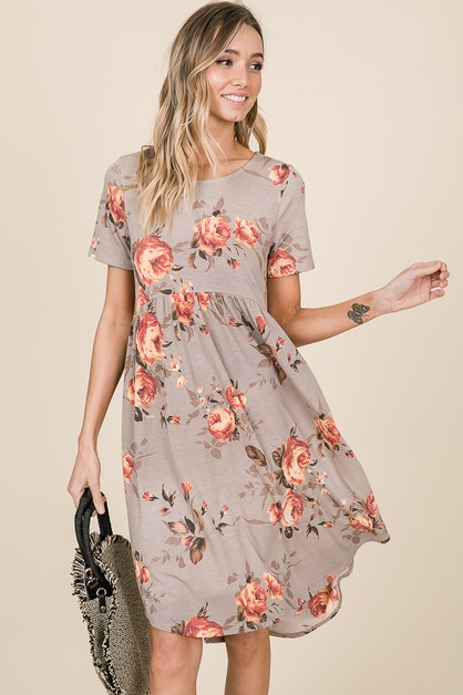 RELAXED FIT FLORAL MIDI DRESS  - orangeshine.com