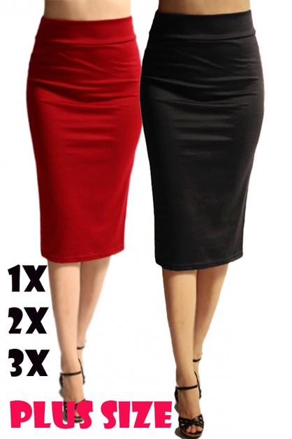 Plus Size High Waisted Pencil Skirt  - orangeshine.com