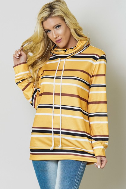 ALL OVER STRIPED PRINT DRAWSTRING HO - orangeshine.com