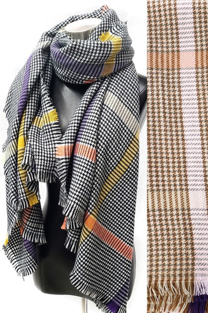 Soft Tartan Plaid Blanket Scarf - orangeshine.com