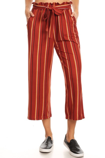 Stripes Crop Flare Wide Leg Pants  - orangeshine.com