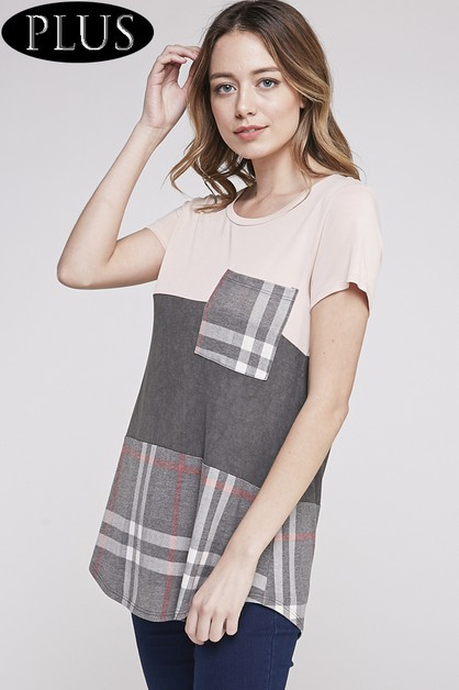 CHECKERED COLOR BLOCK TOP - orangeshine.com