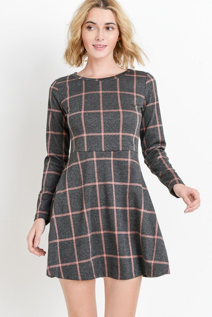 Grid Printed Long Sleeve Dress - orangeshine.com