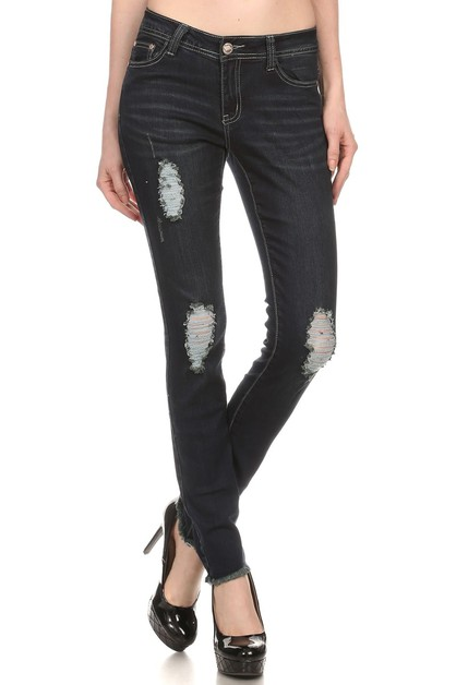 DISTRESSED DENIM JEANS AMP-144 - orangeshine.com