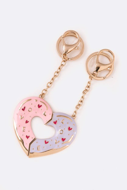 2 Pcs Perfect Heart Enamel Keychain  - orangeshine.com