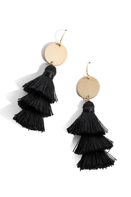 Triple Tiered Tassel Drop Earrings - orangeshine.com