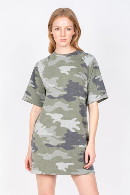 CAMO PRINT LOOSE FIT T-SHIRT DRESS - orangeshine.com
