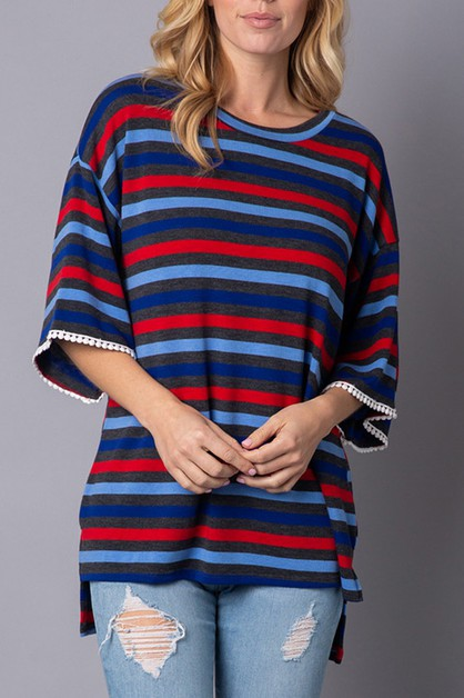 Multi-color stripe t-shirt  - orangeshine.com