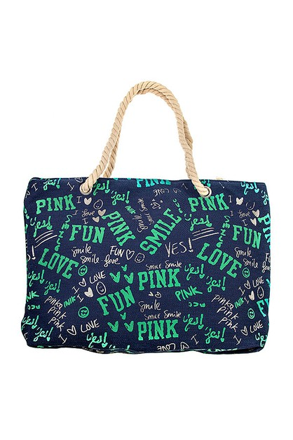 PINK SMILE LOVE FUN TOTE BAG - orangeshine.com