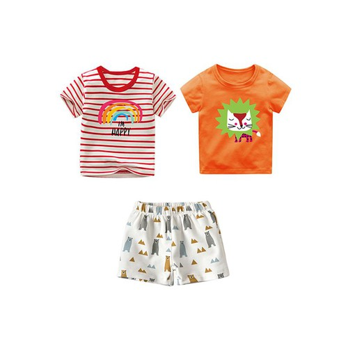 3pc Cute Printed T shirt shorts set - orangeshine.com