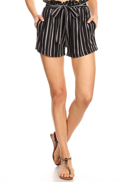 Black Stripes Bohemian Shorts Soft - orangeshine.com