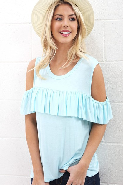 TB1462-COLD SHOULDER AND RUFFLES  - orangeshine.com