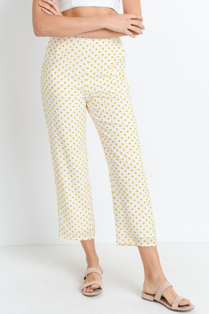 Polka Dot Side Pockets Lined Pants - orangeshine.com