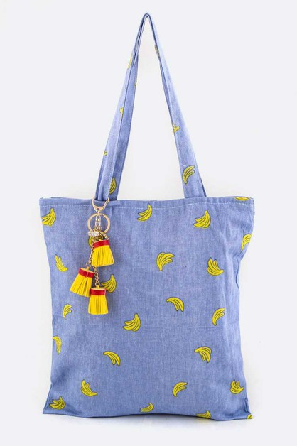 Banana Print Tassel Fashion Tote - orangeshine.com
