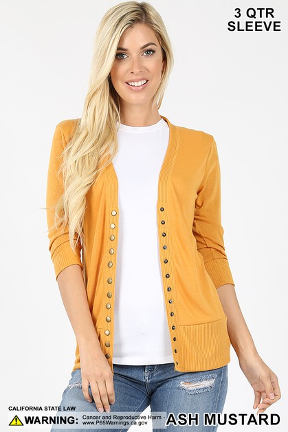 SNAP BUTTON SWEATER CARDIGAN - orangeshine.com