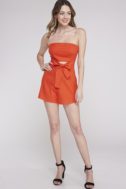 LINEN ROMPER WITH FRONT CUT OPEN TIE - orangeshine.com