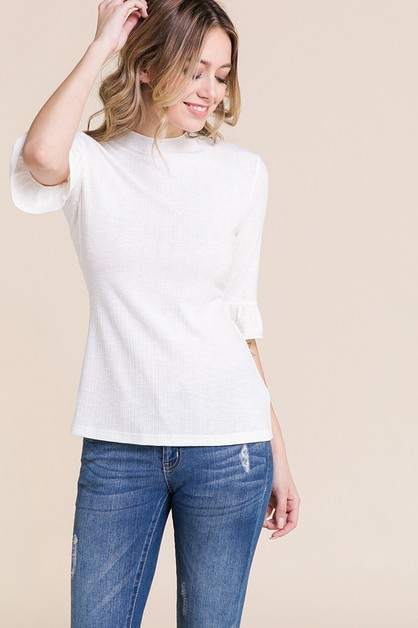 KNIT RUFFLE SHORT SLEEVE TOP - orangeshine.com