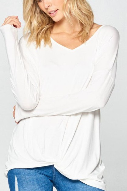 TWIST V NECK TOP - orangeshine.com