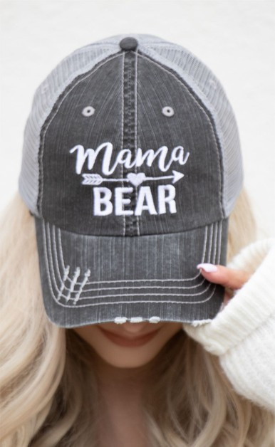 Mama Bear Embroidered Trucker Hat - orangeshine.com