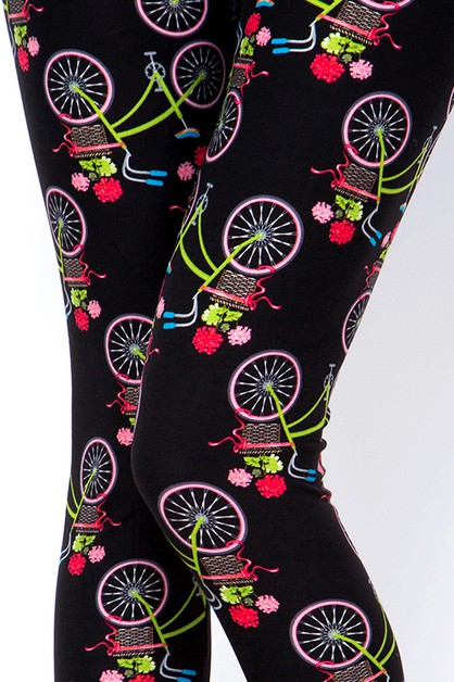 BICYCLE PRINT LEGGINGS  - orangeshine.com