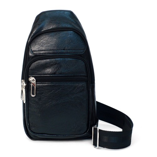 Black PU Leather Sling Bag - orangeshine.com