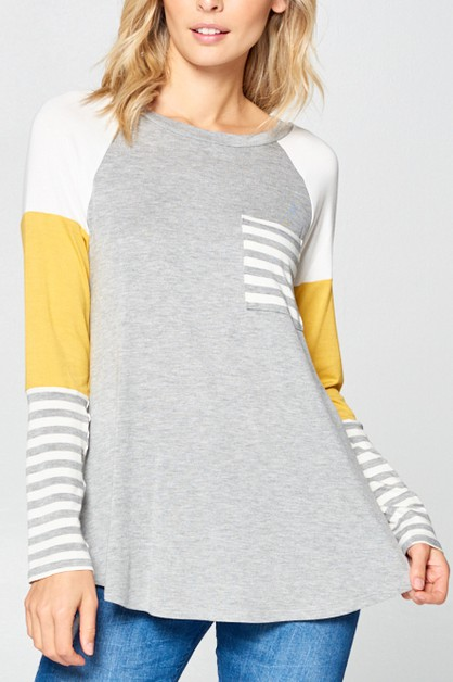 STRIPE COLOR BLOCKED TOP - orangeshine.com