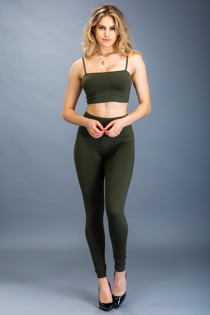 Crop Top and Leggings Set - orangeshine.com