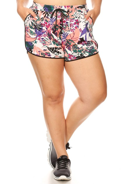 Plus Size Floral Tropical Shorts  - orangeshine.com