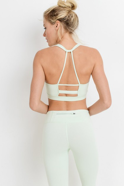 Knotted Outline Racerback Sports Bra - orangeshine.com